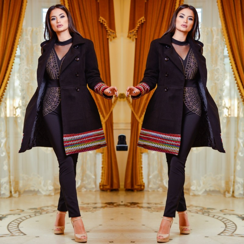 Palton din lana cu model tesut 1