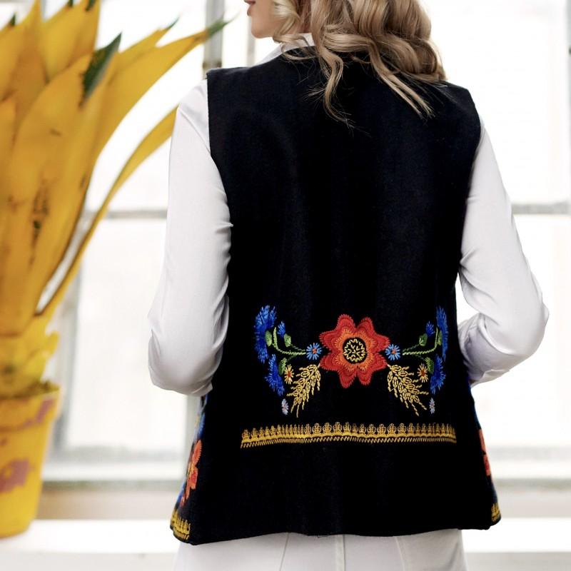 Vesta neagra din stofa brodata - Irina