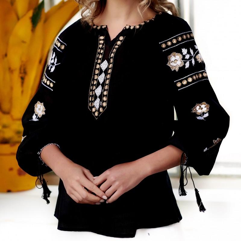 Bluza Traditionala neagra brodata - Tania