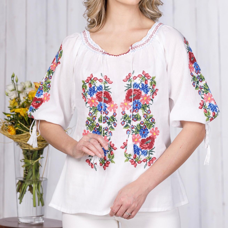 bluza tip ie alba cu broderie florala – Florina