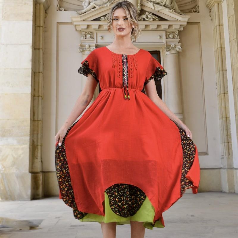 Rochie lunga stilizata rosie - Anamaria