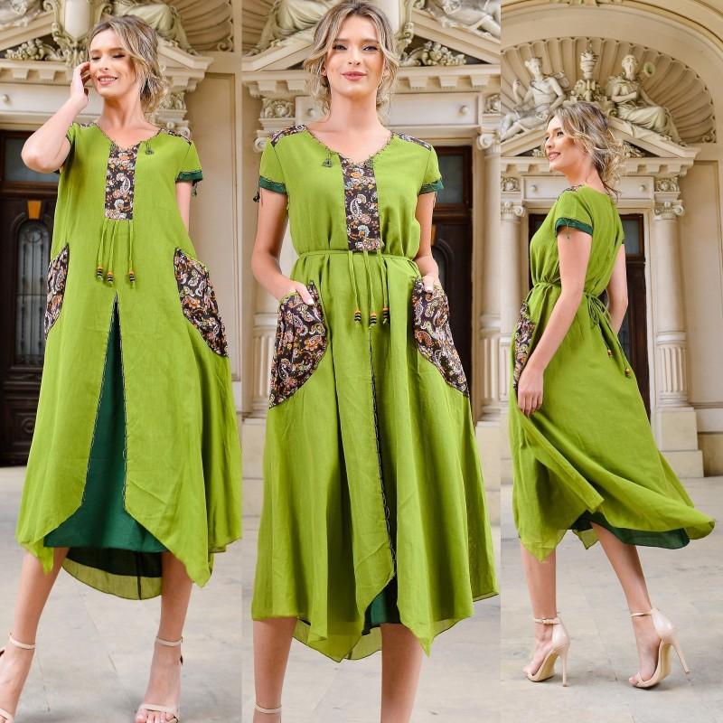 Rochie lunga stilizata verde - Alexia 02
