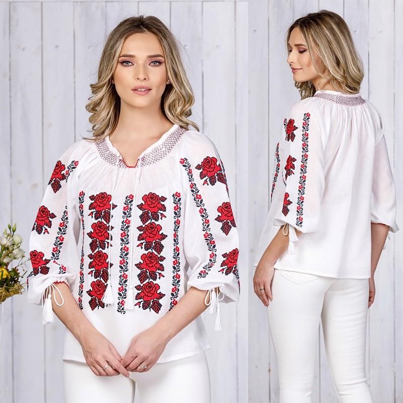 IE Traditionala alba cu tandafiri rosii - Alina