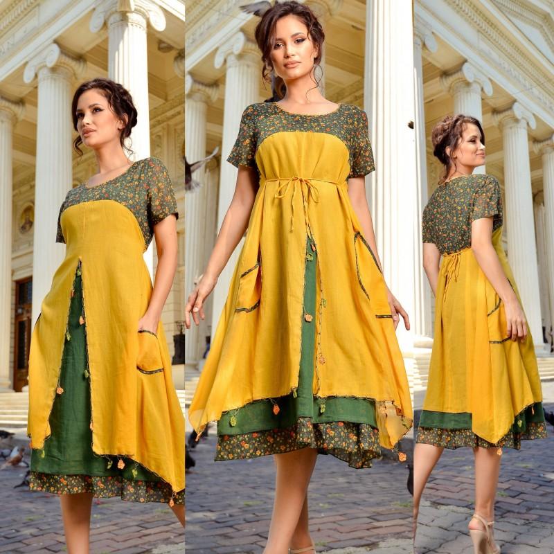 Rochie lunga stilizata - Amalia galbena 01