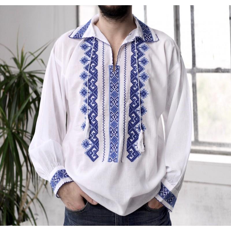 Camasa Traditionala barbateasca - Razvan albastru