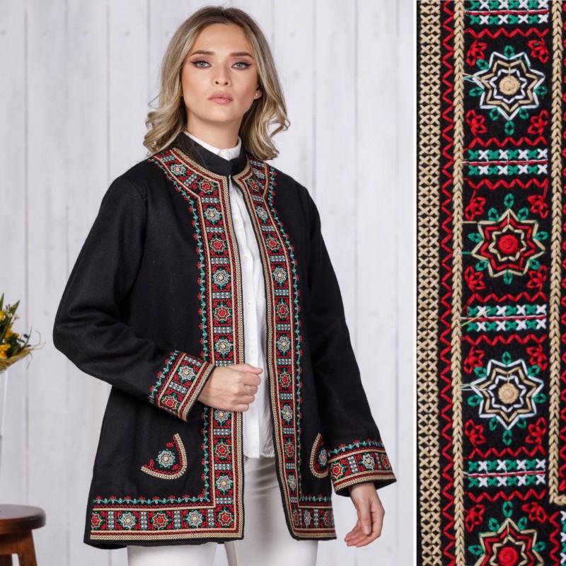 Palton brodat negru din stofa de lana - Tinca