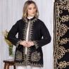 Palton brodat negru din stofa de lana - Maria