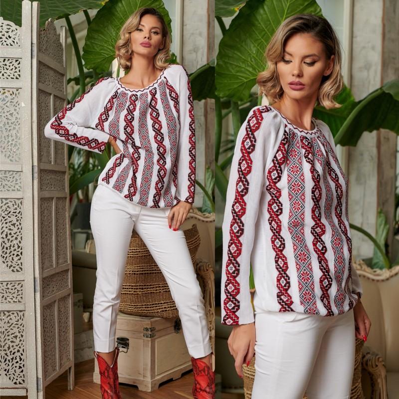 Bluza din tricot cu model stilizat traditional - alba