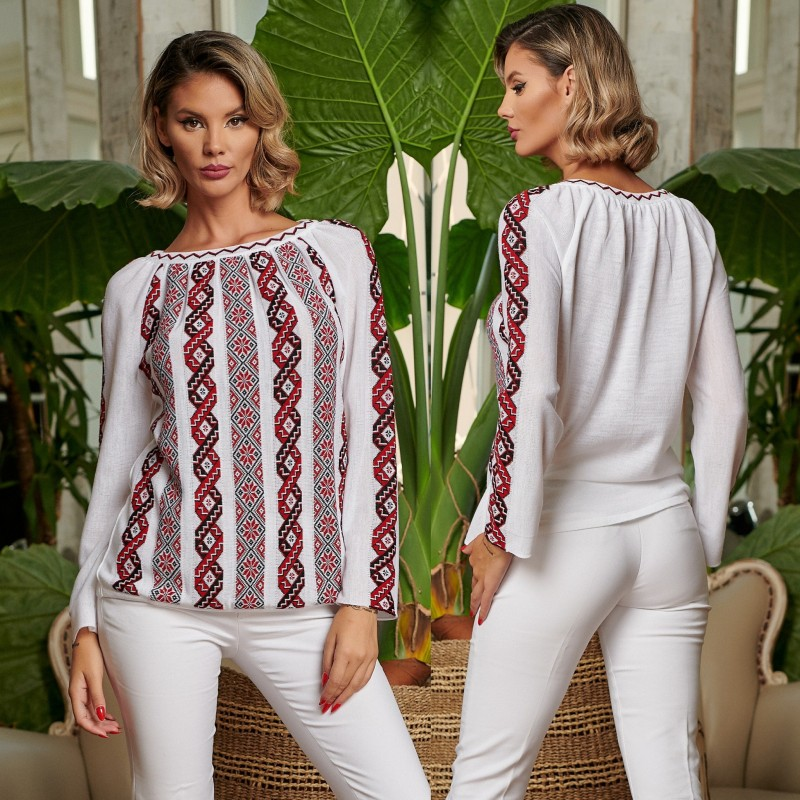 Bluza din tricot cu model stilizat traditional - alba