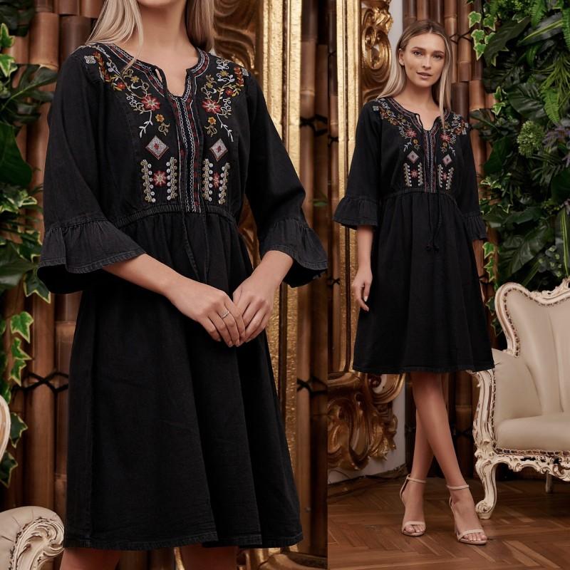 Rochie Brodata din blug negru - Anastasia
