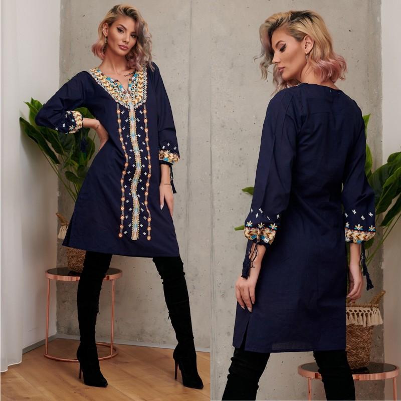 Rochie Traditionala stilizata bleumarin cu croi drept - Monica 02