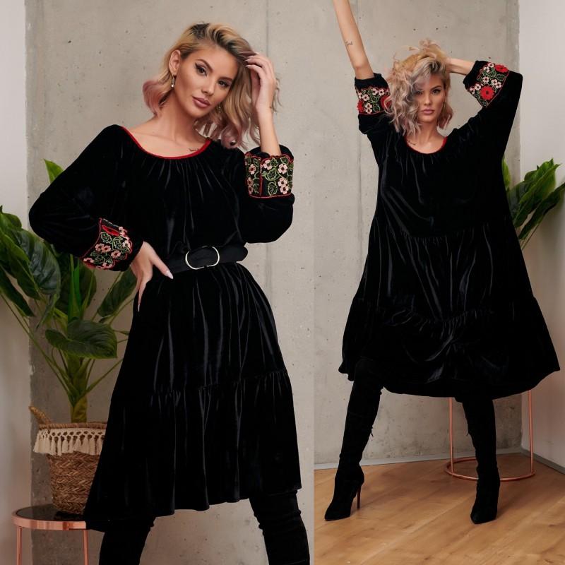 Rochie din catifea neagra cu dantela - Nadia rosu 01