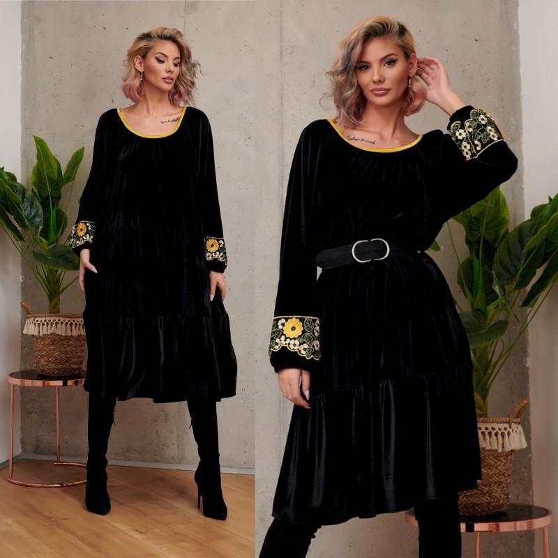 Rochie din catifea neagra cu dantela - Nadia galben 02