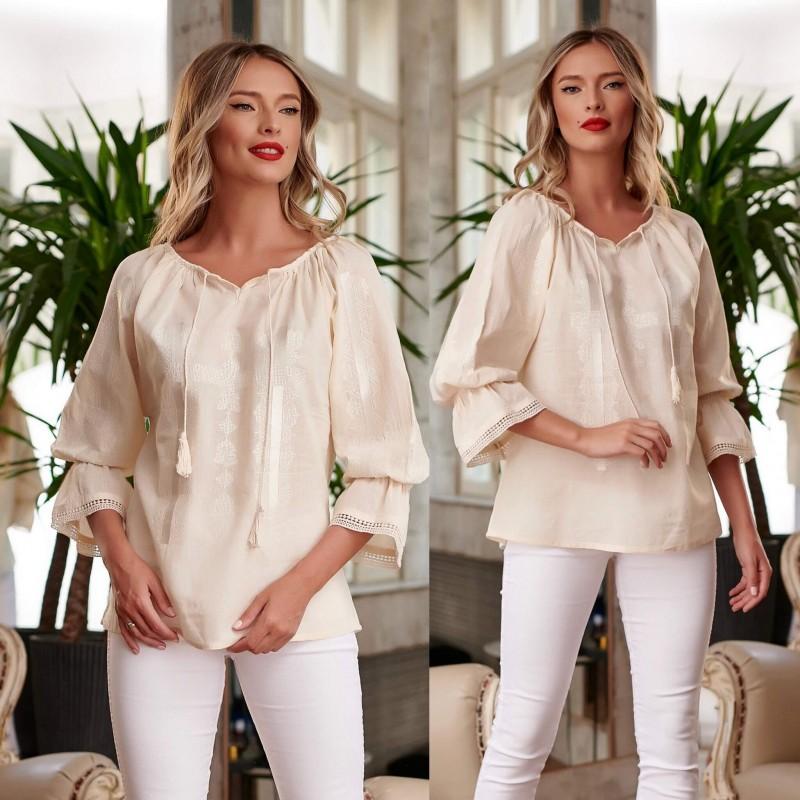 Bluza Traditionala Crem brodata - Alma