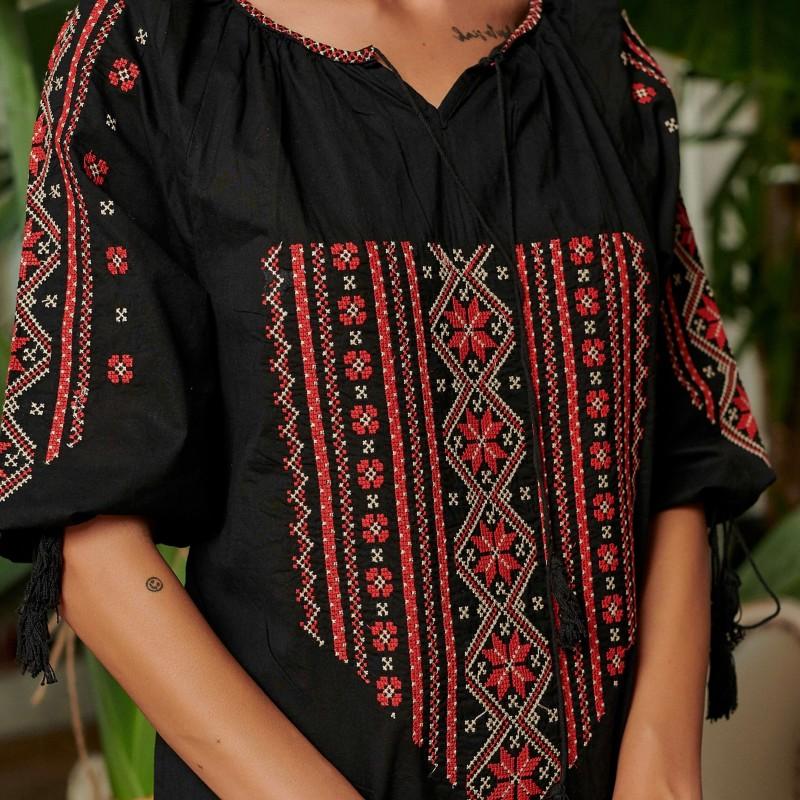 Rochie Traditionala Neagra brodata - Rodica