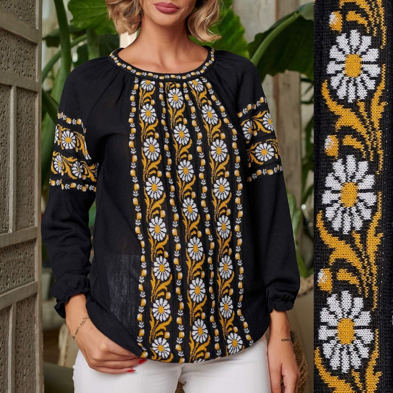 Bluza Nationala din tricot cu model stilizat traditional - Clara neagra
