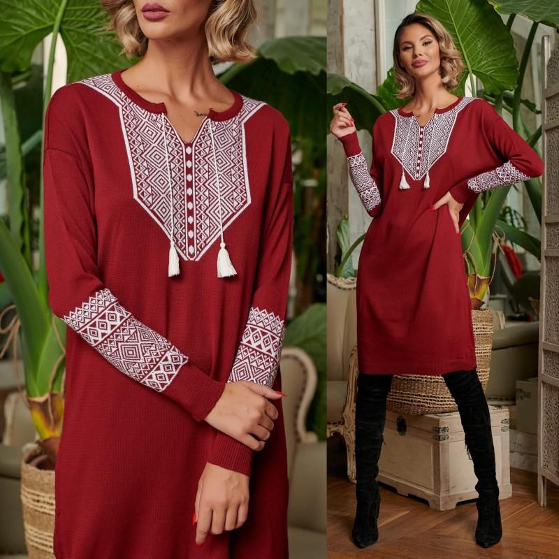 Rochie din tricot cu model traditional - bordo