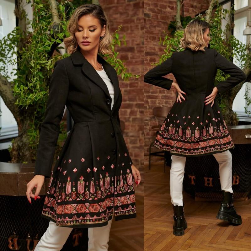 Palton brodat negru din stofa - Ecaterina