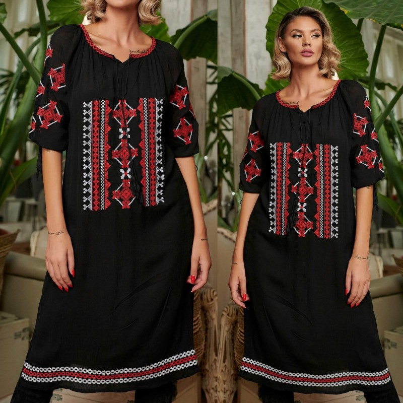 Rochie Traditionala neagra - Irina