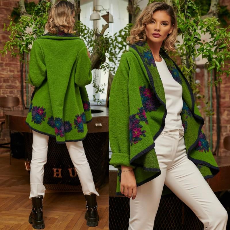 Poncho din lana verde cu maneca lunga