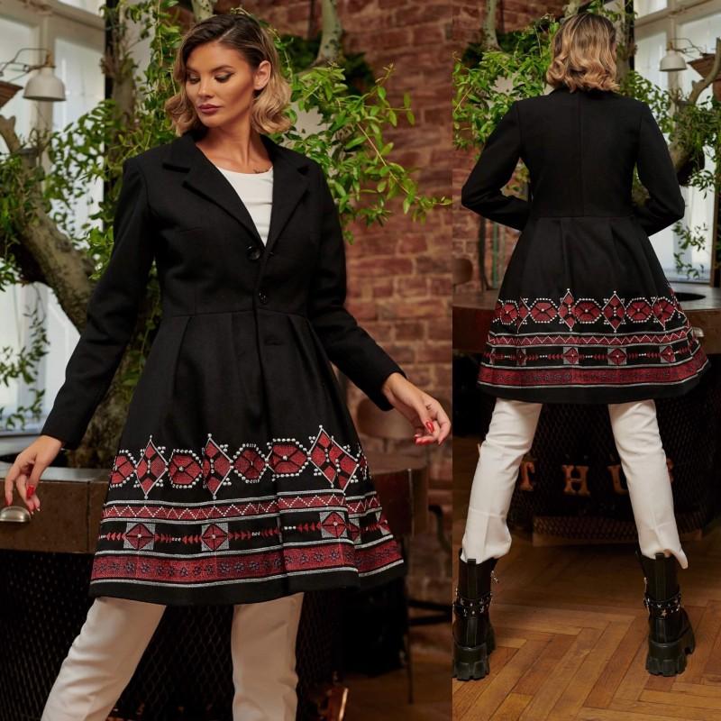 Palton din stofa brodat negru - Elisabeta