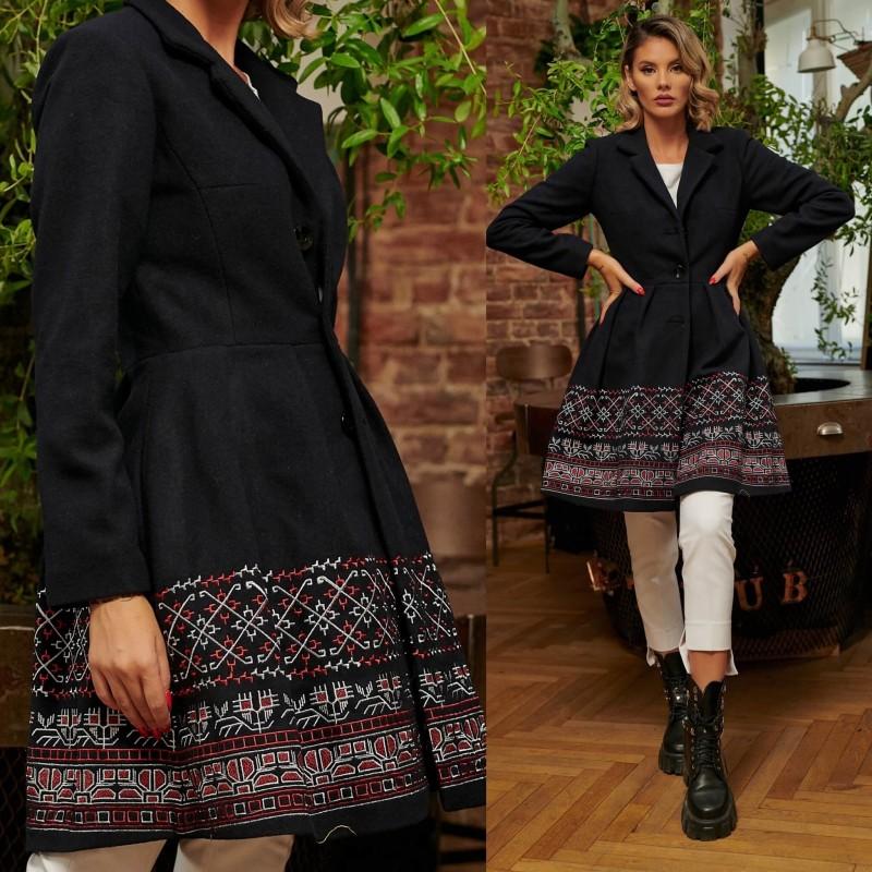 Palton din stofa brodat - Lavinia bleumarin 01