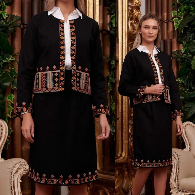 Costum Traditional brodat format din sacou si fusta - Ileana