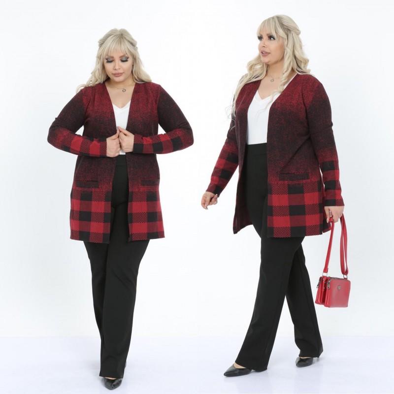 Cardigan rosu din tricot cu buzunare