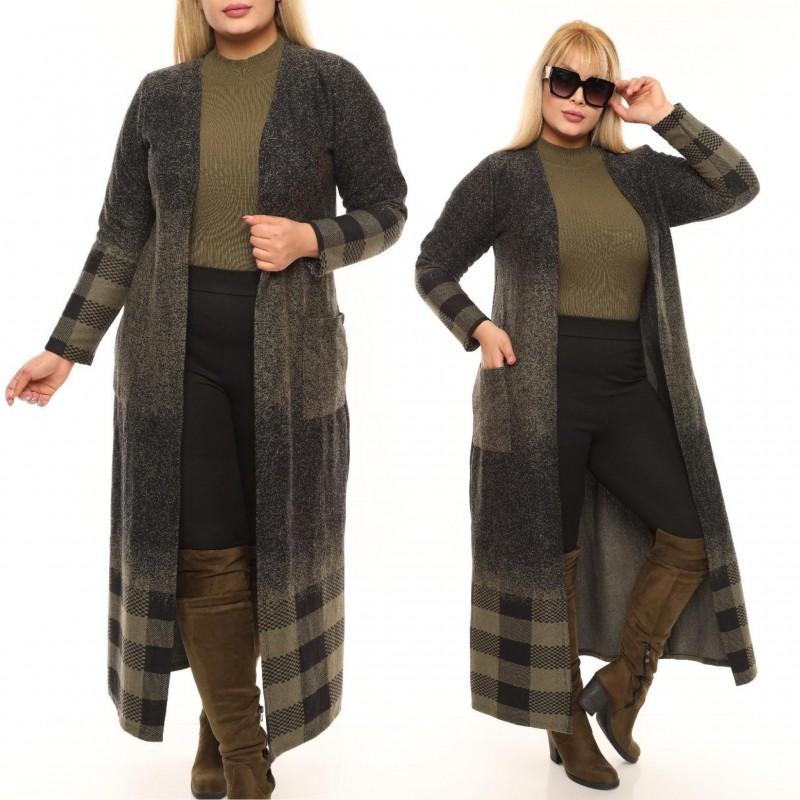 Cardigan lung  din tricot cu buzunare