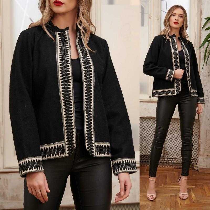 Sacou National din stofa de lana neagra - Amanda