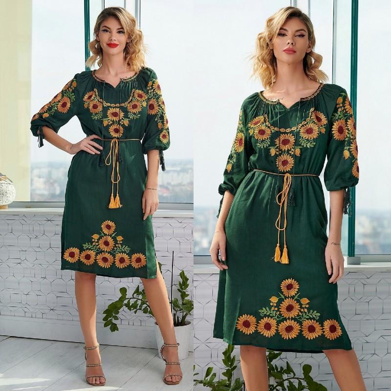 Rochie Traditionala verde - Floarea Soarelui 05