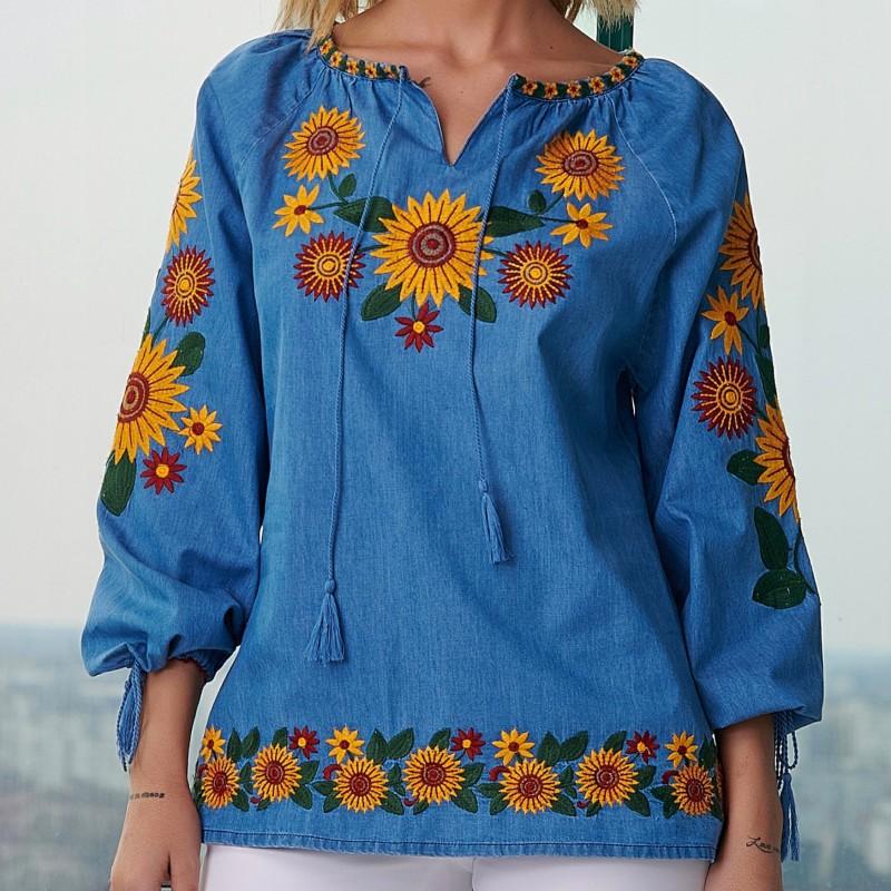 Bluza tip ie din blug brodata - Floarea Soarelui