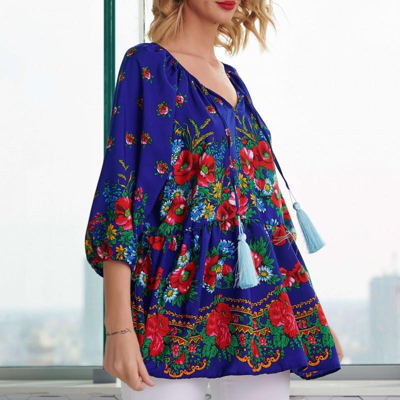 Tunica albastra cu imprimeu floral - Florina 03