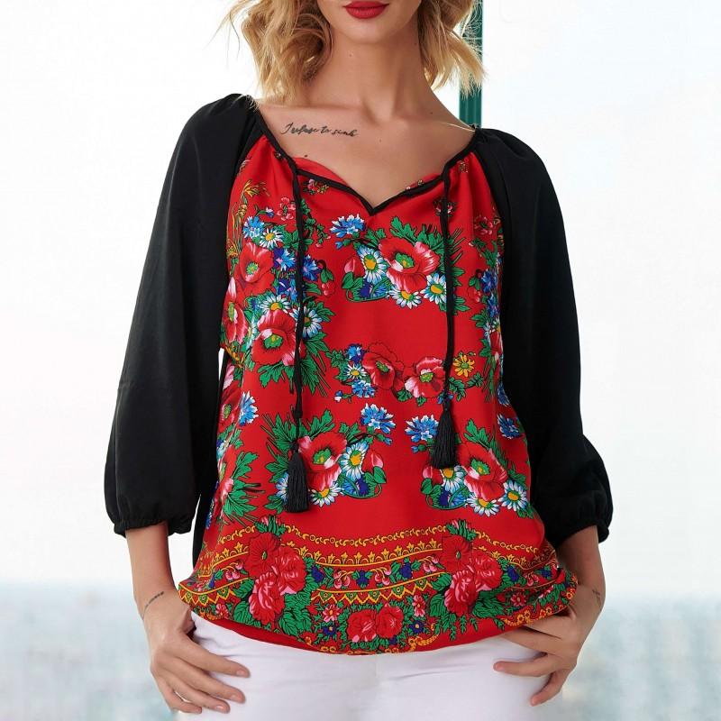 Bluza neagra cu imprimeu floral rosu - Luminita 03