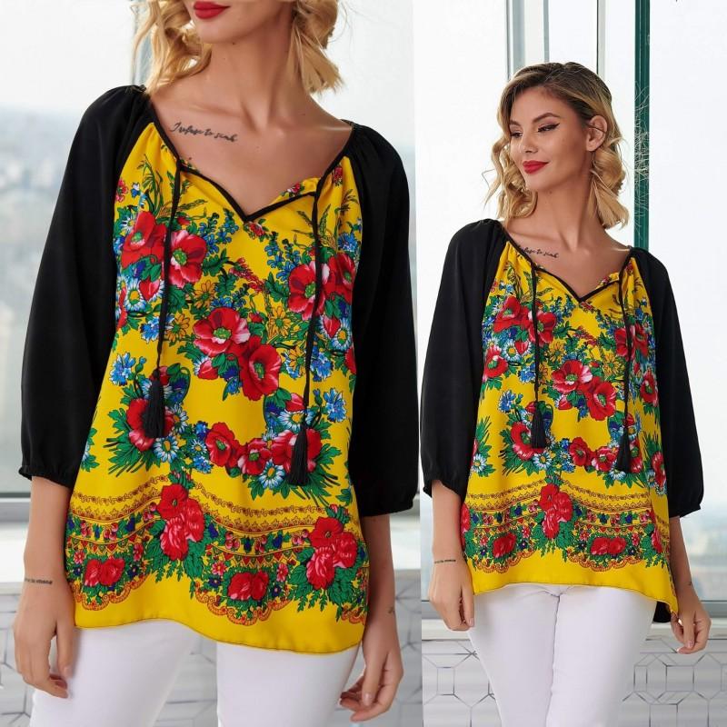 Bluza galbena cu imprimeu floral - Luminita 01