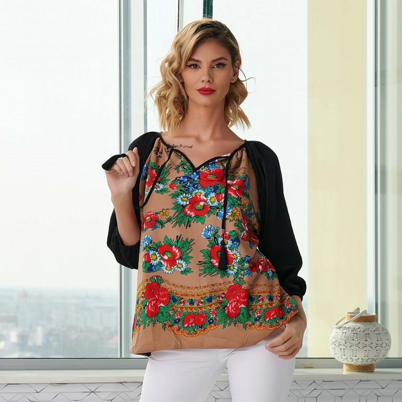 Bluza neagra cu imprimeu floral bej - Luminita 06