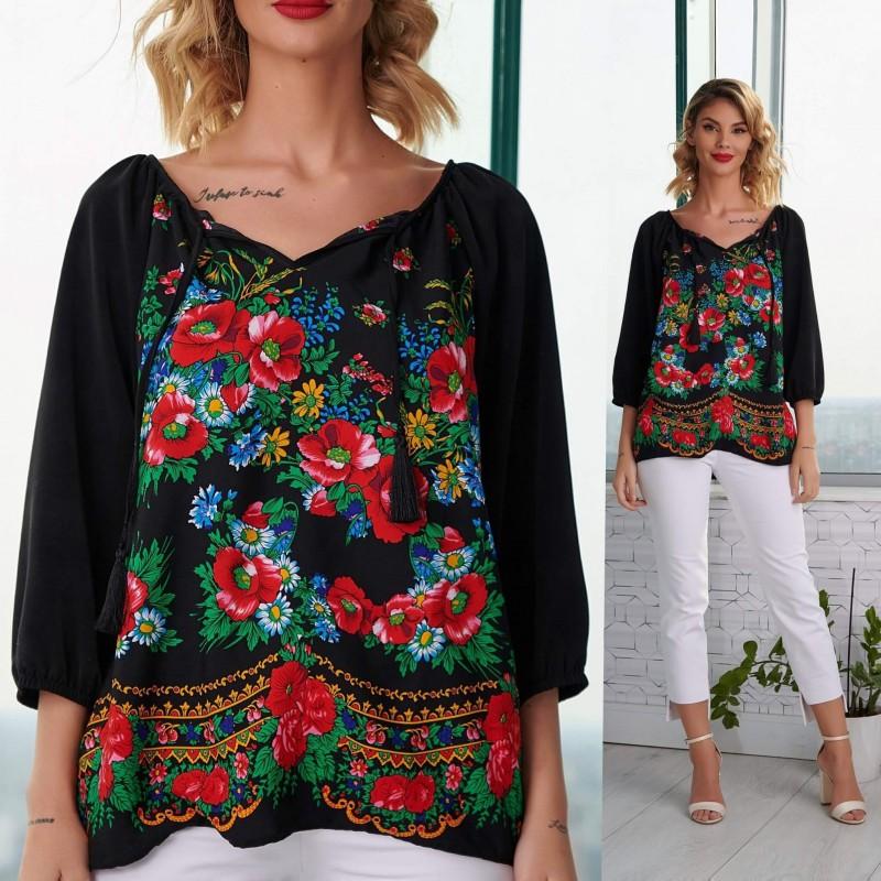 Bluza neagra cu imprimeu floral negru - Luminita 07