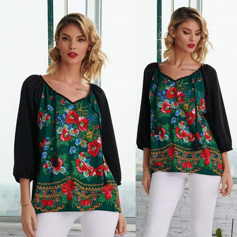 Bluza neagra cu imprimeu floral verde - Luminita 05