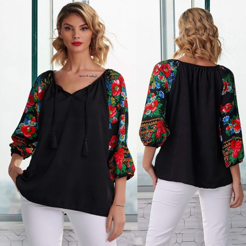 Bluza neagra cu imprimeu floral pe maneci - Florentina negru 07