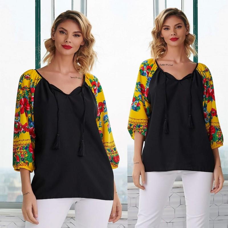 Bluza neagra cu imprimeu floral galben pe maneci - Florentina negru 01