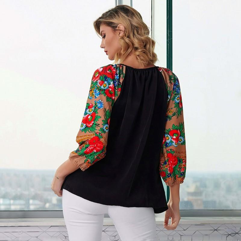 Bluza neagra cu imprimeu floral bej pe maneci - Florentina negru 05