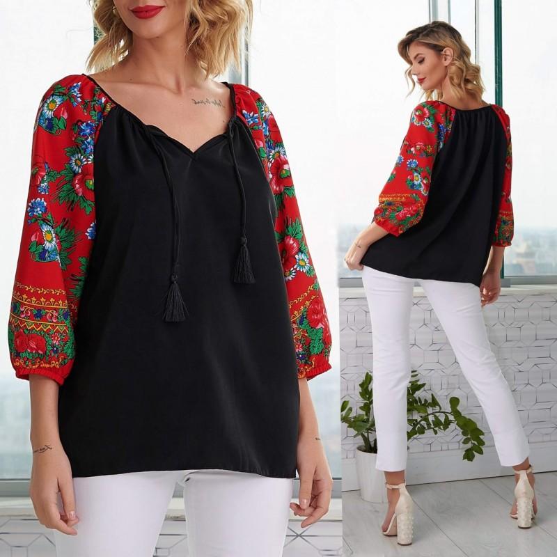 Bluza neagra cu imprimeu floral rosu pe maneci - Florentina negru 02