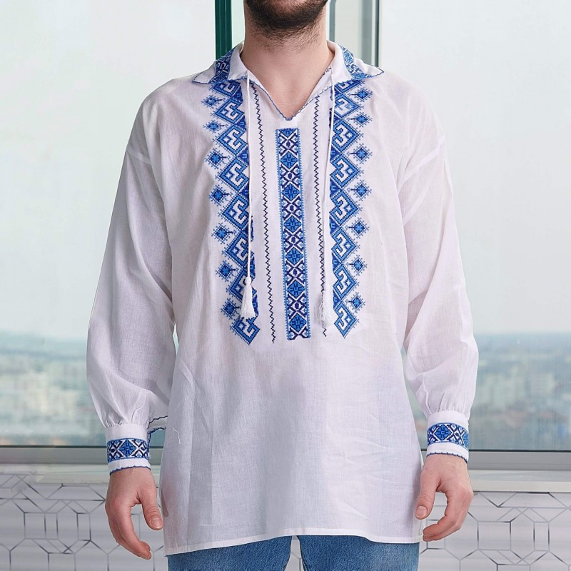 Camasa Traditionala barbateasca - Razvan albastru 01