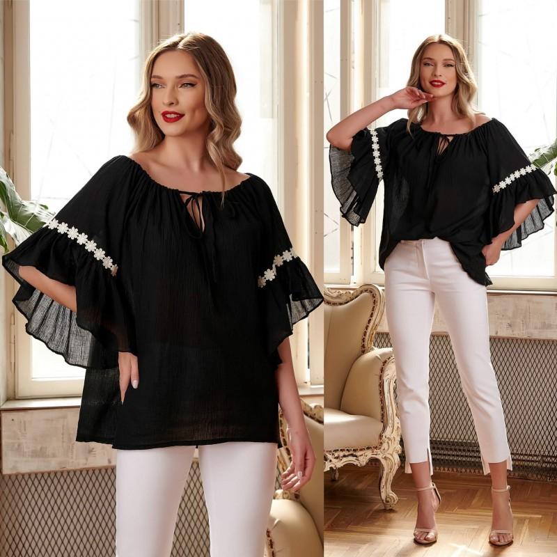 Bluza stilizata din panza topita - negru 03