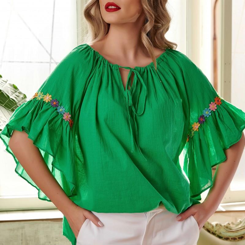 Bluza stilizata din panza topita - verde 04