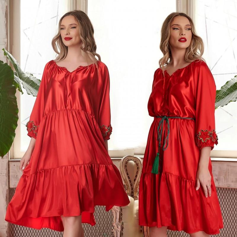Rochie din satin rosu