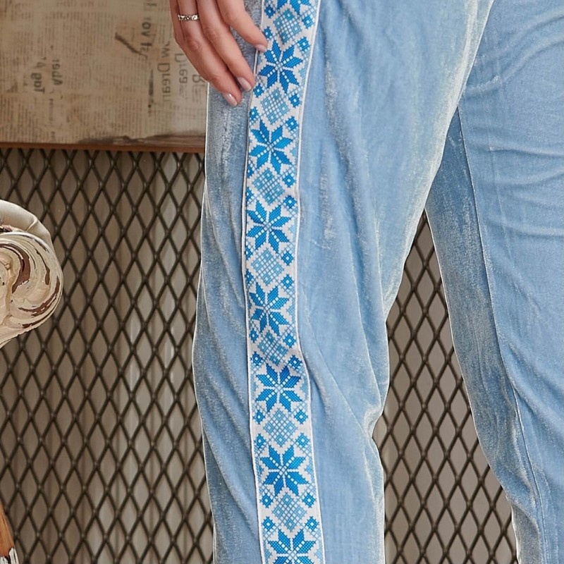Pantaloni bleu din catifea cu banda traditionala - 01