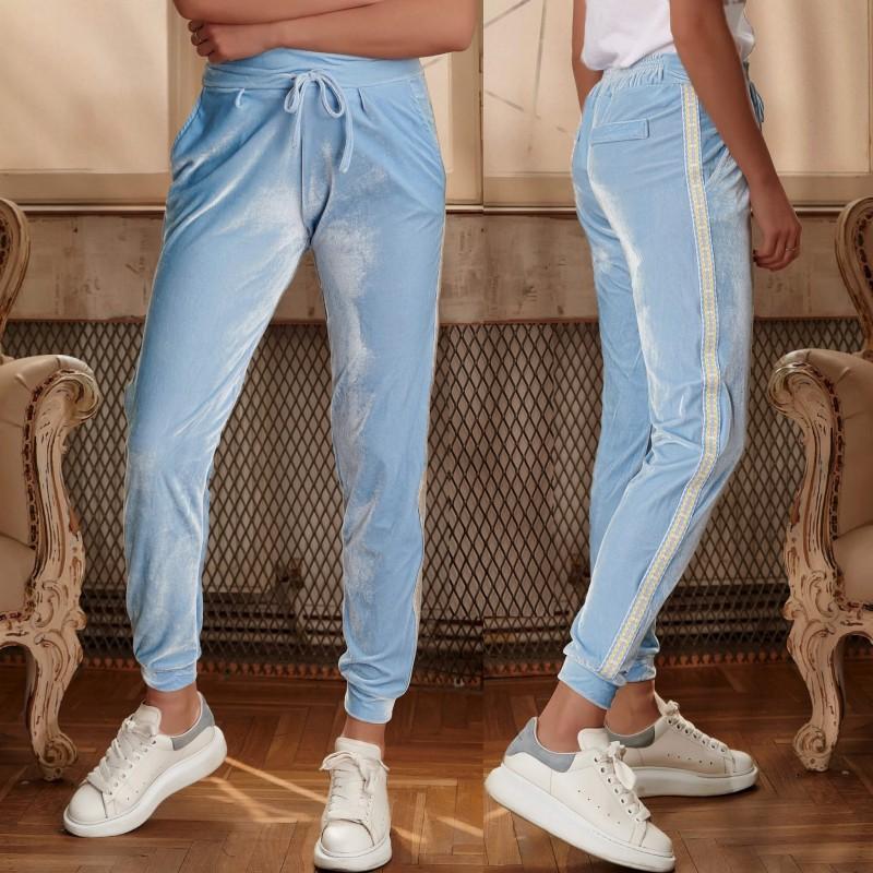 Pantaloni bleu din catifea cu banda galbena - 02
