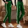 Pantaloni verzi din catifea cu banda florala