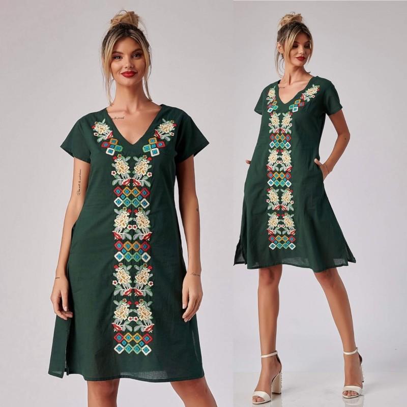 Rochie brodata verde - Magda 05
